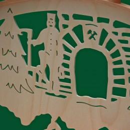 Detail Schwibbogen Bergwerk, 67 cm mit indirekter Beleuchtung